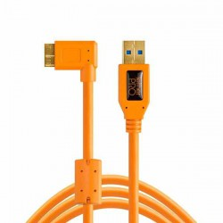 Cable TetherPro USB 3.0 Micro-B ángulo derecho 4.6m (Naranja)