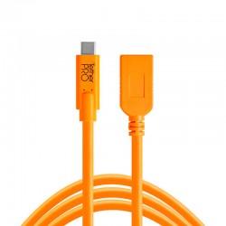 Cable TetherPro USB-C a USB-A (Hembra) Naranja de 4,6 m